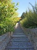 Włoch bergamo Antyczni kamienni schodki które prowadzą od niskiego miasta stary jeden fotografia stock