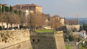 Włoch bergamo Krajobraz przy antycznymi ścianami stary miasto wierzchu miasteczko fotografia royalty free