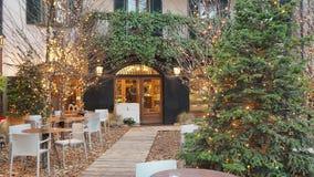 Włoch bergamo starego miasta Jeden piękny miasto w Włochy Bary podczas zima czasu i restauracje zbiory