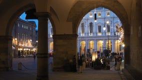 Włoch bergamo starego miasta Krajobraz od loggii stary główny plac i biblioteka publiczna fotografia stock