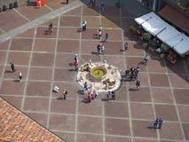 Włoch bergamo starego miasta Krajobraz przy Contarini fontanną lokalizować przy starym głównym placem fotografia stock