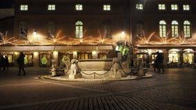 Włoch bergamo starego miasta Krajobraz przy Contarini fontanną lokalizować przy starym głównym placem zdjęcie wideo