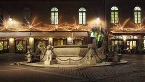 Włoch bergamo starego miasta Krajobraz przy Contarini fontanną lokalizować przy starym głównym placem zbiory wideo