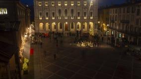 Włoch bergamo starego miasta Krajobraz przy głównym placem biblioteką publiczną i fontanną, fotografia stock
