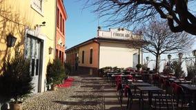 Włoch bergamo starego miasta mały kwadrat przy przyjazdem San Vigilio funicular zbiory