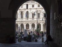 Włoch bergamo Stary miasto Krajobraz od loggii stary główny plac i biblioteka publiczna zdjęcie royalty free