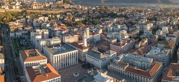 Włoch bergamo Trutnia widok z lotu ptaka centrum miasta niski miasteczko fotografia royalty free