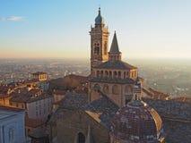 Włoch bergamo Widok z lotu ptaka bazylika Santa Maria Maggiore Colleoni i kaplica zdjęcie royalty free