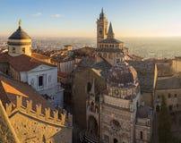 Włoch bergamo Widok z lotu ptaka bazylika Santa Maria Maggiore Colleoni i kaplica zdjęcia royalty free