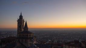Włoch bergamo Widok z lotu ptaka bazylika Santa Maria Maggiore Colleoni i kaplica fotografia stock
