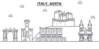 Włochy, Aosta architektury linii linii horyzontu ilustracja Liniowy wektorowy pejzaż miejski z sławnymi punktami zwrotnymi, miast Zdjęcie Stock