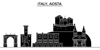 Włochy, Aosta architektury miasto wektorowa linia horyzontu, podróż pejzaż miejski z punktami zwrotnymi, budynki, odosobneni wido Fotografia Royalty Free