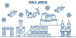 Włochy, Aosta zimy miasto linia horyzontu boże narodzenie nowy rok szczęśliwy wesoło Fotografia Stock