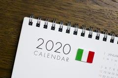 Włochy flaga na 2020 kalendarzu zdjęcie royalty free