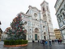 Włochy Florencja katedra przy bożymi narodzeniami z deszczem Fotografia Stock