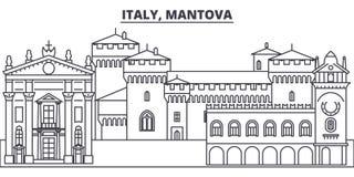 Włochy, Mantova linii linii horyzontu wektoru ilustracja Włochy, Mantova liniowy pejzaż miejski z sławnymi punktami zwrotnymi, mi ilustracji