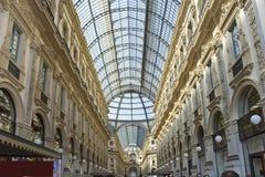 Włochy, Mediolańskie Vittorio galerie Emmanuil II Obrazy Stock