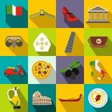Włochy mieszkania ikony ilustracja wektor