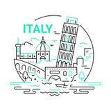 Włochy - nowożytna wektor linii podróży ilustracja royalty ilustracja