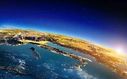 Włochy od astronautycznego wschód słońca fotografia stock