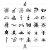 Włochy, podróż, tradycje i inna sieci ikona w czerni, projektujemy insekt, botanika, edukacj ikony w ustalonej kolekci ilustracji