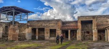 Włochy, Pompeii, 02,01,2018 Stabian podwórze kąpać się (termin Zdjęcie Stock