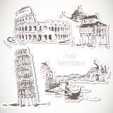Włochy ręka rysujący krajobraz w rocznika stylu ilustracja wektor