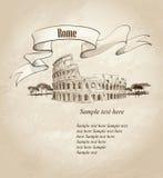 Włochy retro tło Rzym koloseum Włochy royalty ilustracja