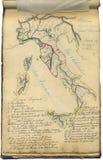 Włochy rocznik oryginalna mapa Zdjęcie Royalty Free