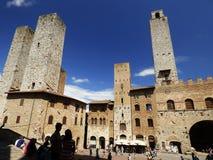 Włochy, Tuscany, Siena, San Gimignano, widok główny plac z góruje fotografia royalty free