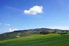 Włochy Tuscany, Volterra, panoramiczny widok miasto od wsi zdjęcie royalty free