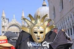 Włochy Wenecja karnawałowe szarość odizolowywająca maska Zdjęcia Royalty Free