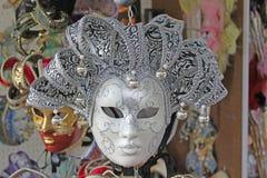 Włochy Wenecja karnawałowe szarość odizolowywająca maska Fotografia Royalty Free