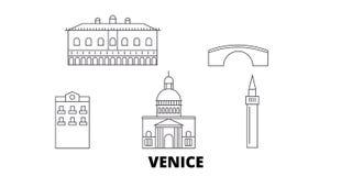 Włochy, Wenecja miasto linii podróży linia horyzontu set Włochy, Wenecja miasta konturu miasto wektorowa ilustracja, symbol, podr royalty ilustracja