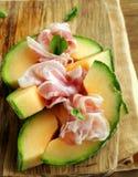 Włoscy antipasti (prosciutto melone) zdjęcie royalty free