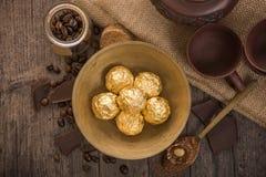 Włoscy czekoladowi cukierki z dekoracją Obrazy Royalty Free