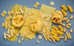 Włoscy foods pojęcia i menu projekt Asortowani typ makaron Zdjęcie Royalty Free