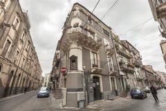 Włoscy historyczni budynki, dziejowy centrum Catania, Sicily Włochy Zdjęcie Royalty Free