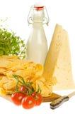 Włoscy makaronu naczynia składniki odizolowywający na bielu (świeży tagliate Obrazy Royalty Free
