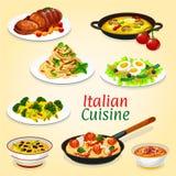 Włoscy naczynia makaron, mięso, ryba i warzywa, ilustracji