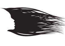 Włosiana dziewczyny sylwetka royalty ilustracja