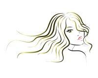 Włosiana logo ikony kobiet twarz z długie włosy Zdjęcia Royalty Free