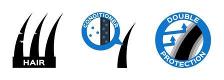 Włosianego conditioner ochrony logo, ikona i anatomia royalty ilustracja