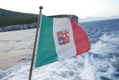 Włoska żołnierz piechoty morskiej flaga Zdjęcia Stock
