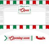 Włoska kawiarnia, pizzeria, Targowi sklepu projekta elementy ilustracja wektor