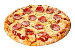 Włoska pepperoni pizza na gęstej pasztetowej skorupie zdjęcie royalty free