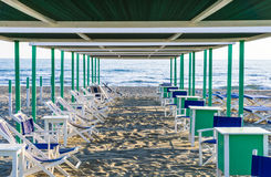 Włoska piasek plaża, forte dei Marmi, Versilia Obraz Royalty Free