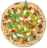 Włoska pizza z kukurydzą odizolowywającą na bielu Obrazy Royalty Free