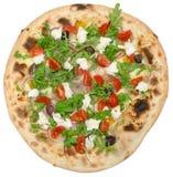 Włoska pizza z mozzarellą odizolowywającą na bielu Obrazy Royalty Free