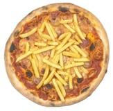 Włoska pizza z patatoes i wurstel odizolowywający na bielu Zdjęcie Stock